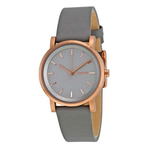 DKNY Soho Gray Pearlized Dial Gray Leather 34 mm Ladies Watch NY2341