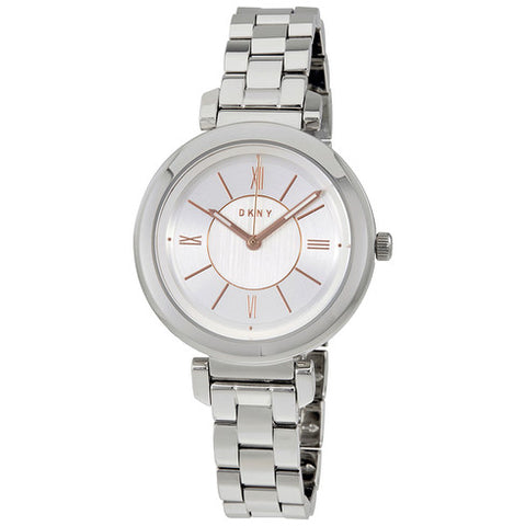 DKNY Ellington Silver Dial Stainless Steel 34 mm Ladies Watch NY2582
