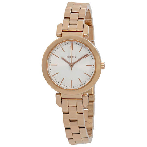 DKNY Ellington Silver Dial 28 mm Ladies Rose Gold Tone Watch NY2592