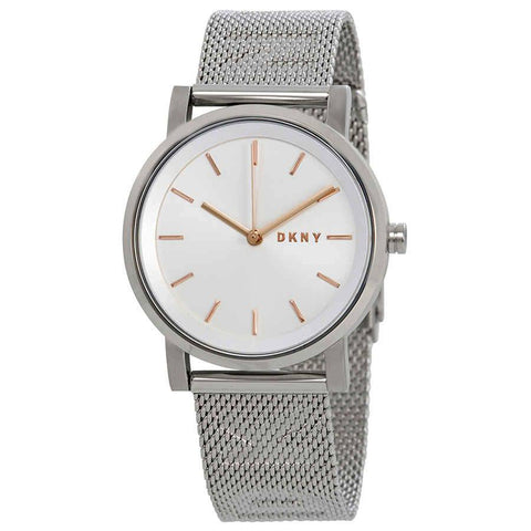 DKNY Soho Silver Dial Steel Mesh 34 mm Ladies Watch NY2620