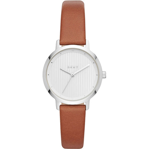 DKNY Modernist Quartz White Dial Brown Leather 32 mm Ladies Watch NY2676