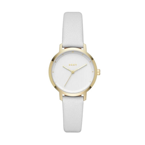 DKNY Modernist Quartz White Dial White Leather 32 mm Ladies Watch NY2677