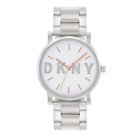 DKNY SoHo White Dial Stainless Steel 34 mm Ladies Watch NY2681 [Pre-order]