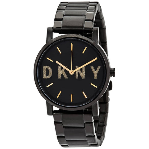 DKNY Soho Quartz Black Dial Black Ion-plated 34 mm Ladies Watch NY2682