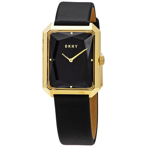DKNY Cityspire Black Dial Black Leather 27 mm x 34 mm Ladies Watch NY2705