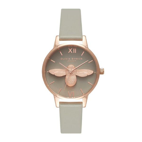 Olivia Burton Ladies' Midi 3D Bee Grey Leather Strap Watch OB15AM77