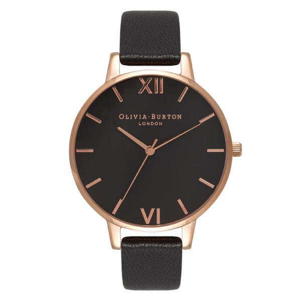 784b52716 Olivia Burton Ladies' Big Dial Black Leather Strap Watch OB15BD66 ...