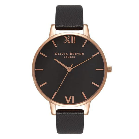 Olivia Burton Ladies' Big Dial Black Leather Strap Watch OB15BD66