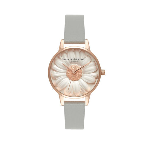 Olivia Burton Ladies' 3D Daisy Grey Leather Strap Watch OB15EG50