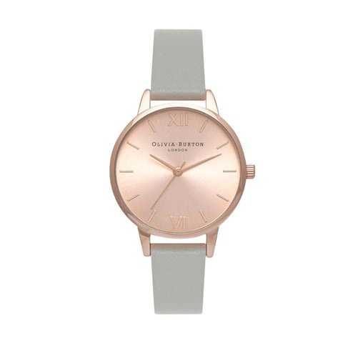 Olivia Burton Ladies' Midi Grey Leather Strap Watch OB15MD46