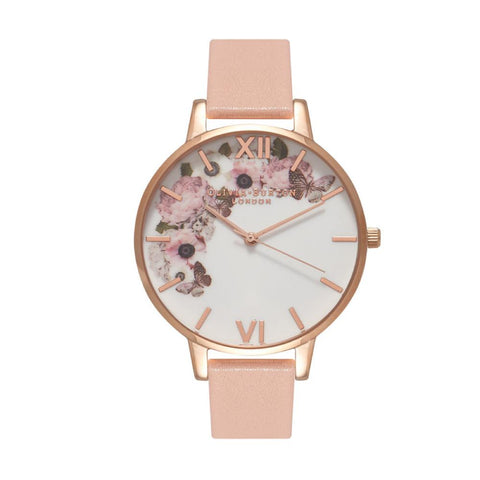 Olivia Burton Ladies' Signature Floral Dusty Pink Leather Strap Watch OB15WG10