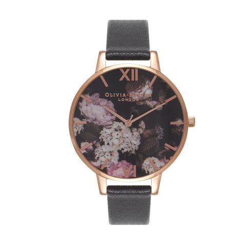Olivia Burton Ladies' Signature Floral Black Leather Strap Watch OB15WG12