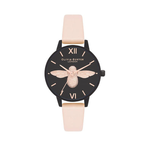 Olivia Burton Ladies' After Dark 3D Bee Nude Peach & Matte Black Watch OB16AD40