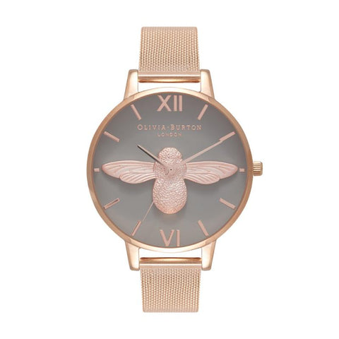 Olivia Burton Ladies' 3D Bee Rose Gold Mesh Watch OB16AM117