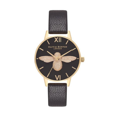 Olivia Burton Ladies' Midi 3D Bee Black Leather Strap Watch OB16AM118