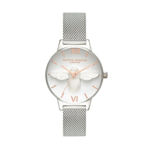 Olivia Burton Ladies' 3D Bee Rose Gold & Silver Mesh Watch OB16AM146