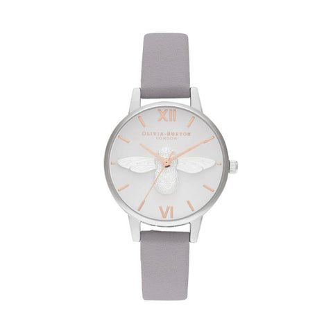 Olivia Burton Ladies' 3D Bee Midi Dial Grey Lilac Rose Gold & Silver Watch OB16AM163