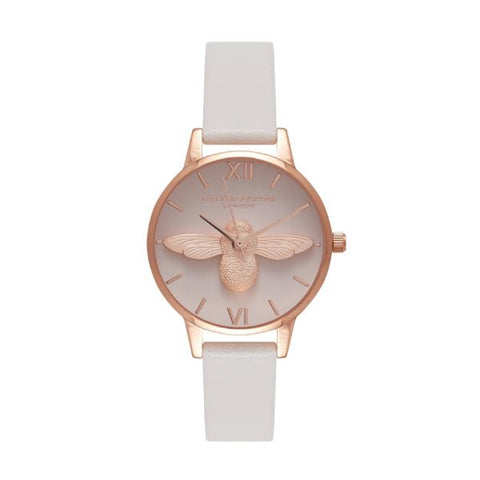 Olivia Burton Ladies' 3D Bee Blush Leather Strap Watch OB16AM85