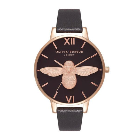 Olivia Burton Ladies' 3D Bee Blush Leather Strap Watch OB16AM98