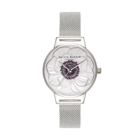 Olivia Burton Ladies' 3D Anemone Silver Mesh Watch OB16AN01