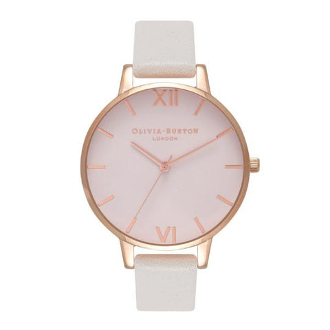 Olivia Burton Ladies' Big Dial Blush Leather Strap Watch OB16BD95