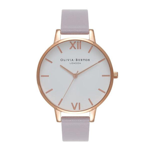 Olivia Burton Ladies' Grey Lilac Leather Strap Watch OB16BDW16