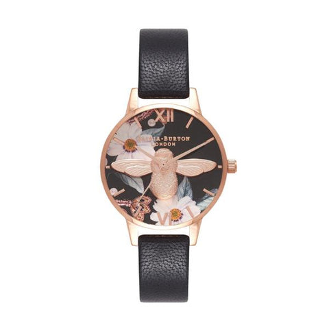 Olivia Burton Ladies' Bejewelled Black Leather Strap Watch OB16BF05