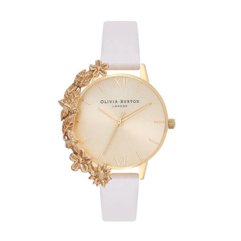Olivia Burton Ladies' Gold Case Cuff Nude Leather Watch OB16CB10