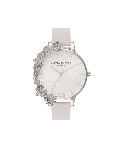Olivia Burton Ladies' Case Cuff Lace Detail Blush & Silver Watch OB16CB14