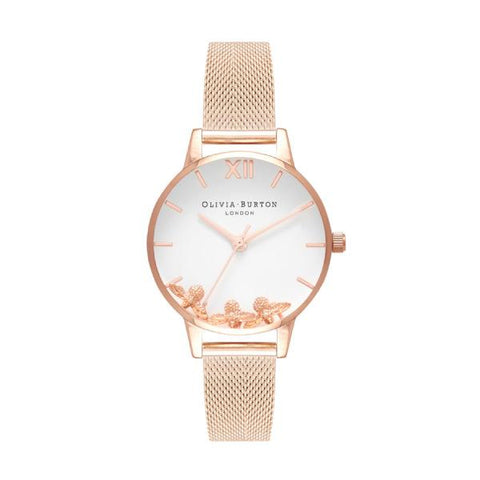 Olivia Burton Ladies' Rose Gold Mesh Stainless Steel Bracelet Watch OB16CH01