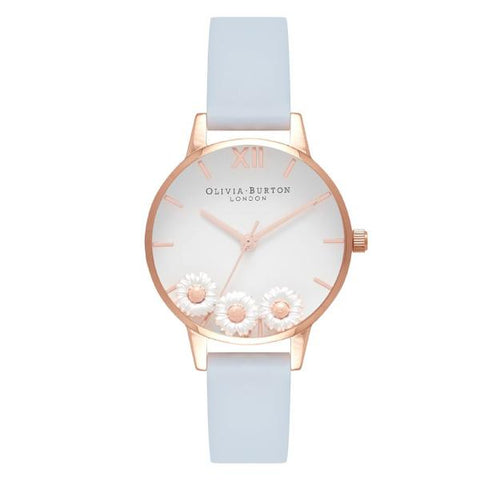 Olivia Burton Ladies' Dancing Daisy Blue Leather Strap Watch OB16CH04