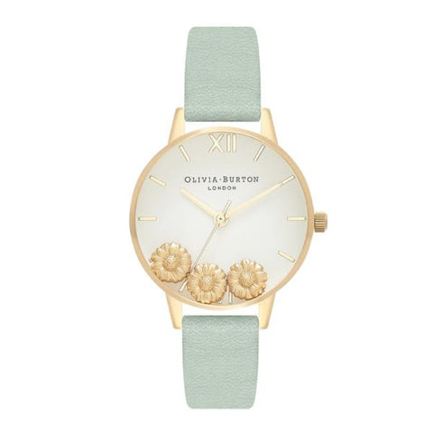Olivia Burton Ladies' Dancing Daisy Sage Leather Strap Watch OB16CH17