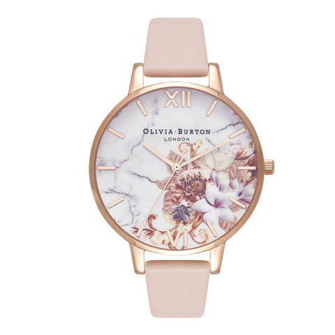 Olivia Burton Ladies' Marble Nude Peach Leather Strap Watch OB16CS12