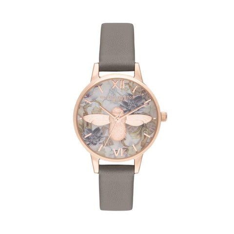 Olivia Burton Ladies' Midi 3D Bee Vegan London Grey & Rose Gold Watch OB16CS19