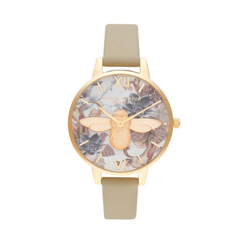 Olivia Burton Ladies' Marble Floral Demi 3D Bee Sand & Gold Watch OB16CS22