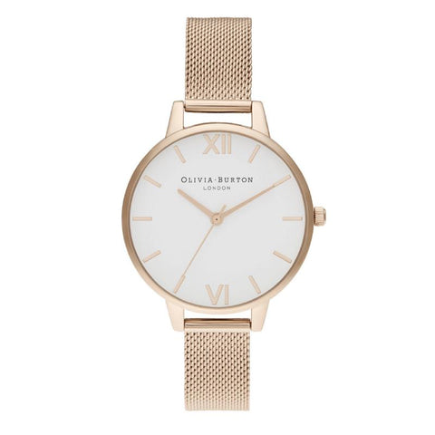 Olivia Burton Ladies' Demin White Dial Pale Rose Gold Watch OB16DE10