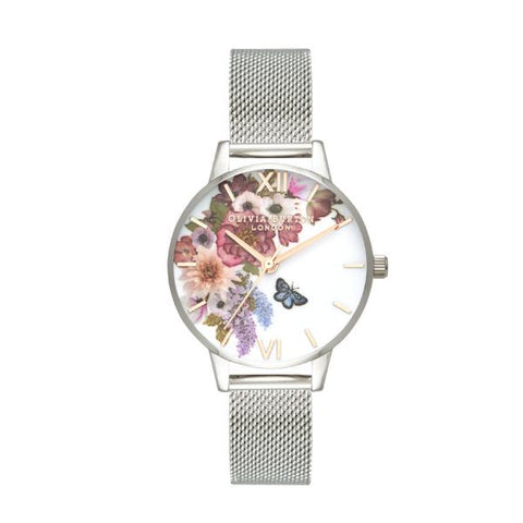 Olivia Burton Ladies' Enchanted Garden Silver Stainless Steel Bracelet Watch OB16EG103