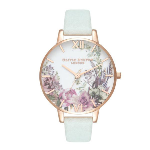 Olivia Burton Ladies' Enchancted Garden Sage Leather Strap Watch OB16EG105