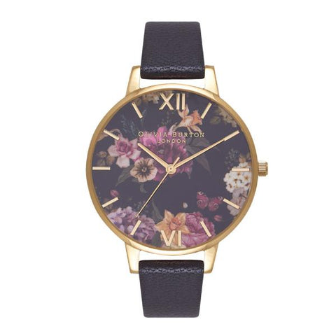 Olivia Burton Ladies' Dark Bouquet Black Leather Strap Watch OB16EG78