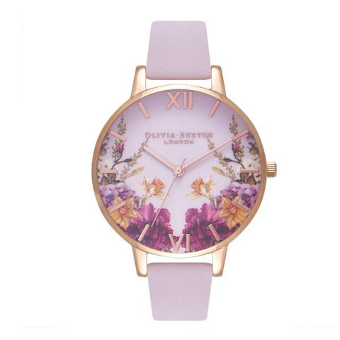 Olivia Burton Ladies' Enchanted Gardens Blossom Pink Leather Strap Watch OB16EG81