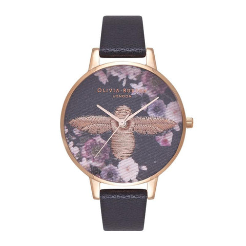 Olivia Burton Ladies' Embroidered Dial 3D Bee Black and Rose Gold Watch OB16EM02