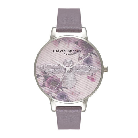 Olivia Burton Ladies' Embroidered Dial 3D Bee London Grey and Silver Watch OB16EM05