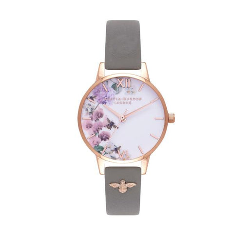 Olivia Burton Ladies' Enchanted Garden Grey Leather Strap Watch OB16ES06