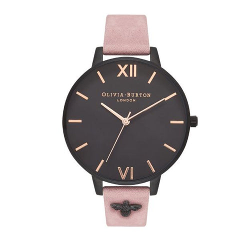 Olivia Burton Ladies' 3D Bee Embellished Rose Suede Leather Strap Watch OB16ES09