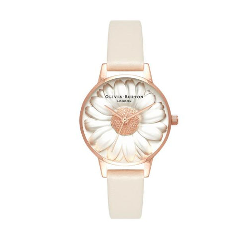 Olivia Burton Ladiers' 3D Daisy Nude Vegan Leather Strap Watch OB16FS101