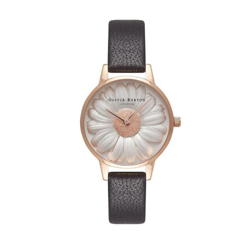 Olivia Burton Ladies' FLower Show 3D Daisy Black Leather Strap Watch OB16FS97