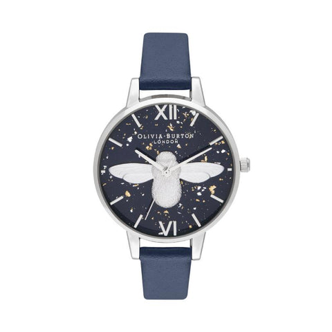 Olivia Burton Ladies' 3D Bee Midnight Navy & Silver Watch OB16GD04