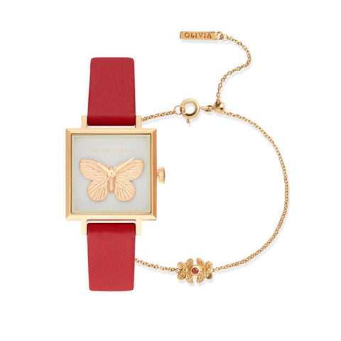 Olivia Burton Ladies' 3D Butterfly Red & Gold Watch Gift Set OB16GSET27