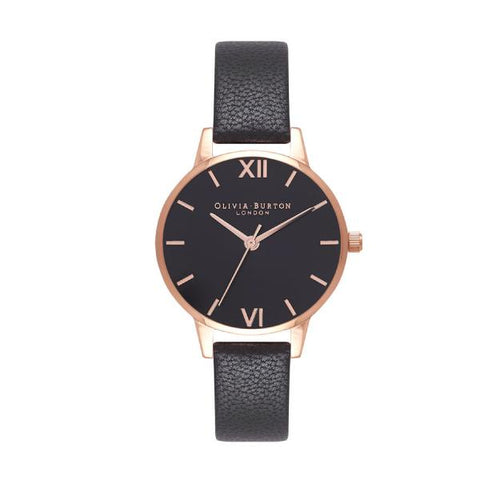Olivia Burton Ladies' Midi Black Leather Strap Watch OB16MD83