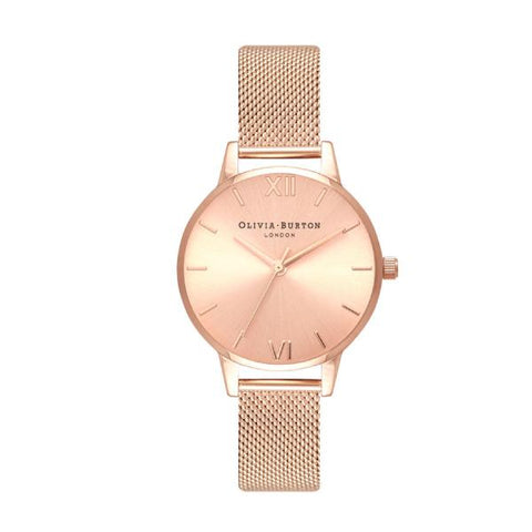 Olivia Burton Ladies' Sunray Rose Gold Ion Plated Stainless Steel Bracelet Watch OB16MD84
